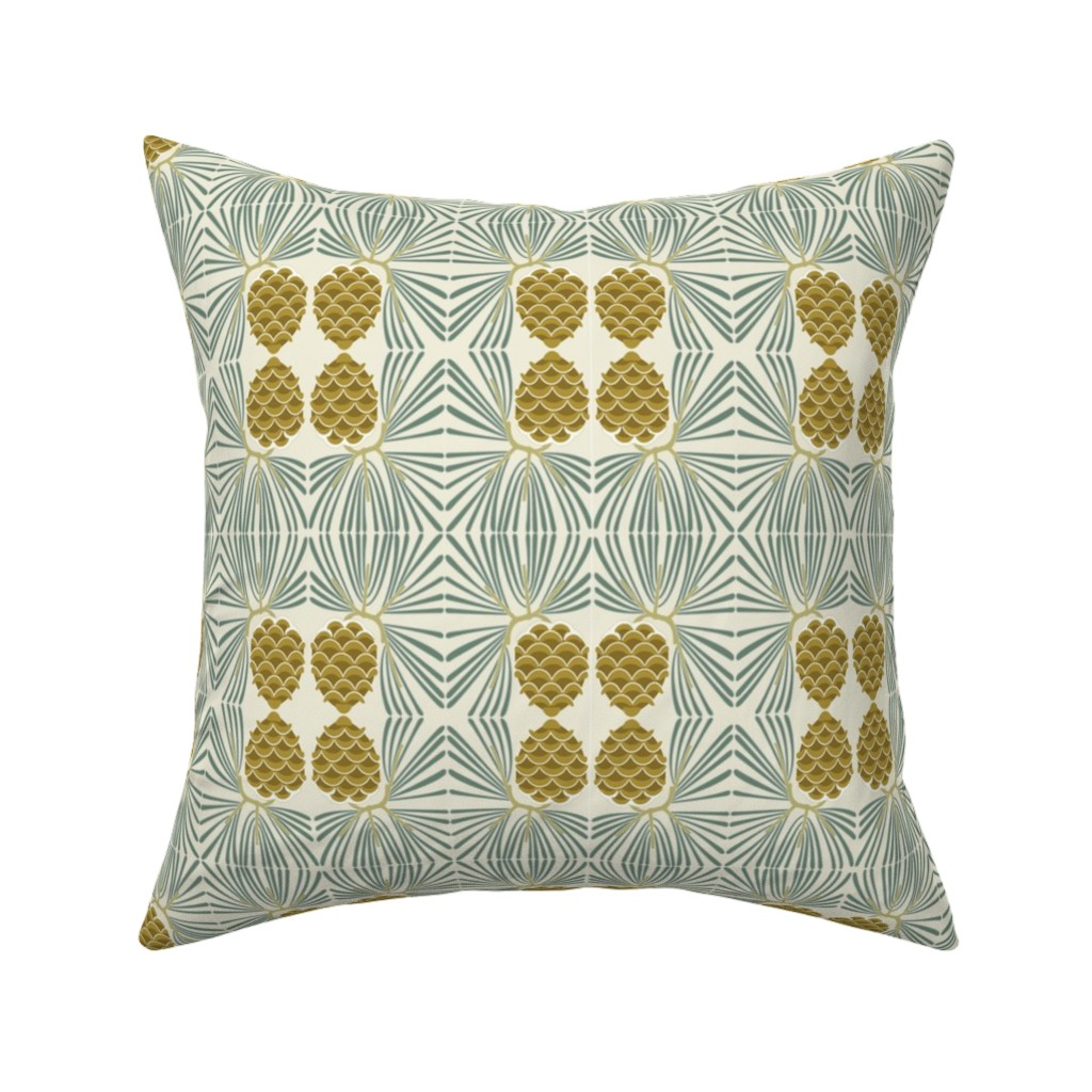 Catalan Throw Pillow featuring holiday pine lrg by cindylindgren