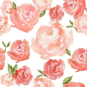 Watercolor Floral, Red