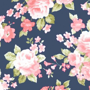 Navy Blush Watercolor Floral