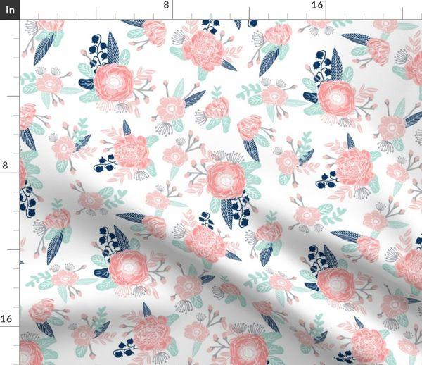 Stoff-Meterware Blumen, Baby, Kinderzimmer, Mädchen, Kindergarten, Blume,  Blumenmotiv, rosa und mint farben