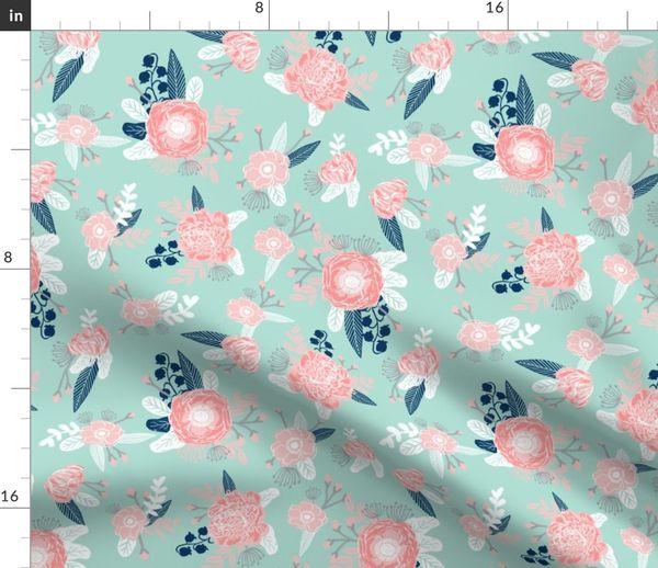 Stoff-Meterware Blumen, Baby, Kinderzimmer, Mädchen, Kindergarten, mintgrün  und rosa, Blumenmotiv, Blumen-