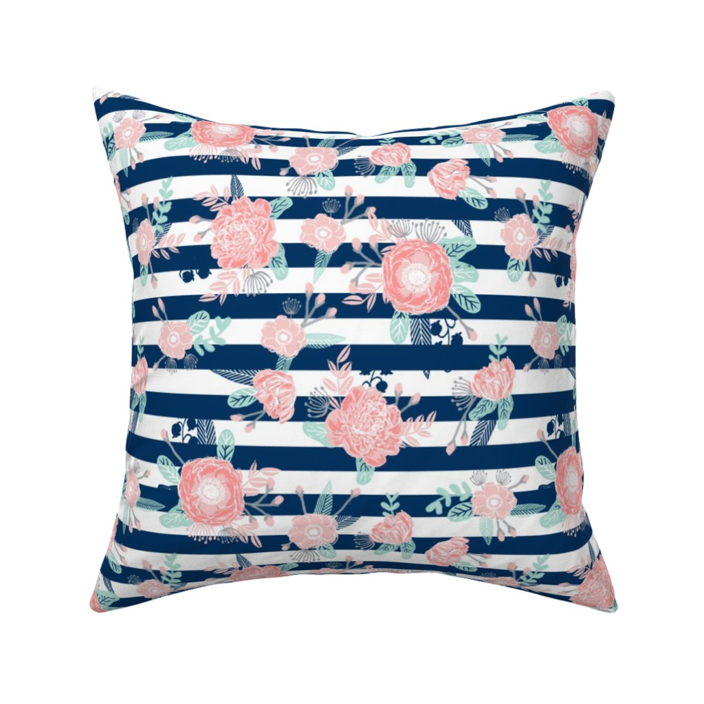 Catalan Throw Pillow featuring florals navy stripe girls baby girl fabric cute baby fabric baby nursery girls fabric by charlottewinter