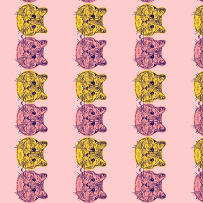 Kitties Border Face Pink