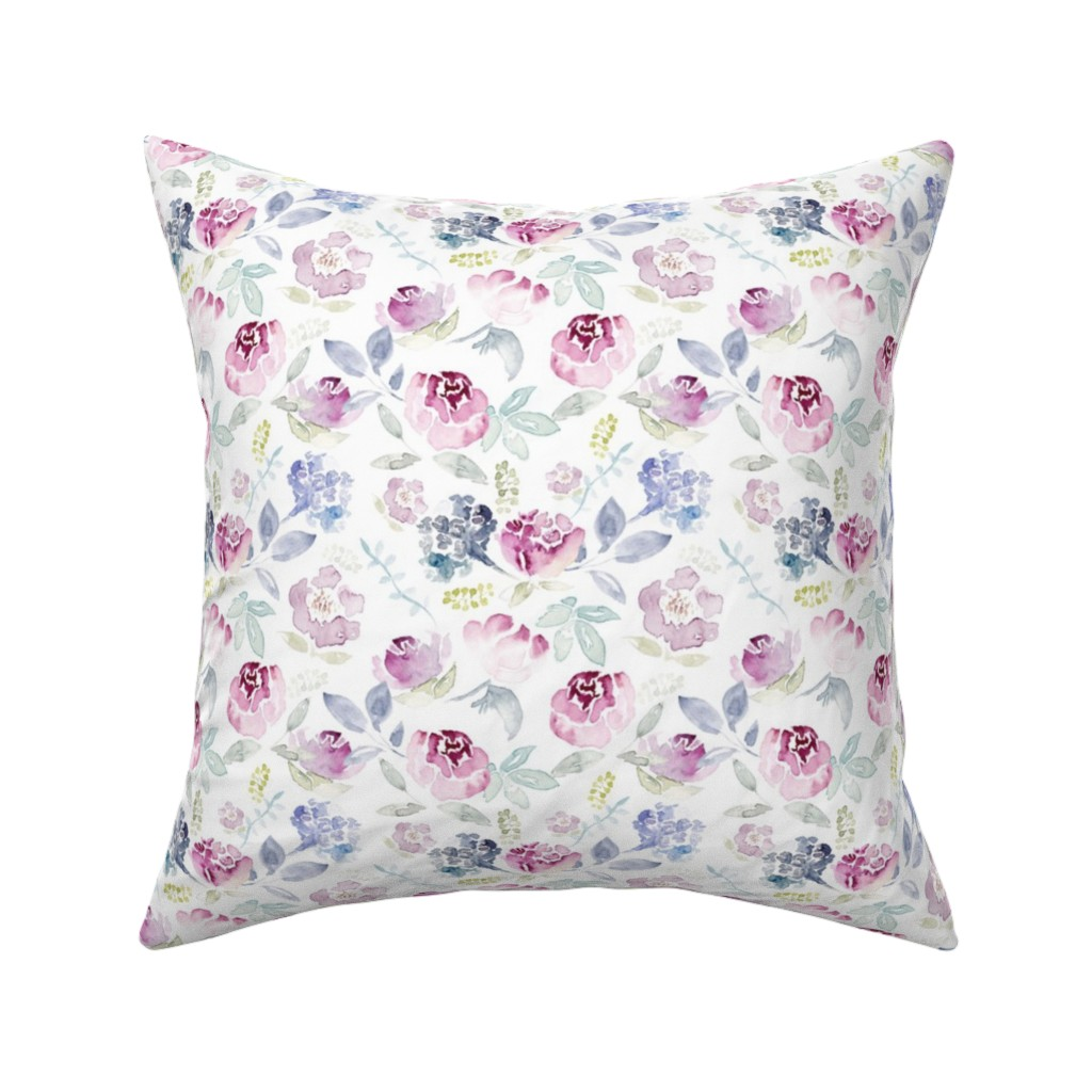 Catalan Throw Pillow featuring Watercolour Florals Vintage Faded Style on White MEDIUM by sylviaoh