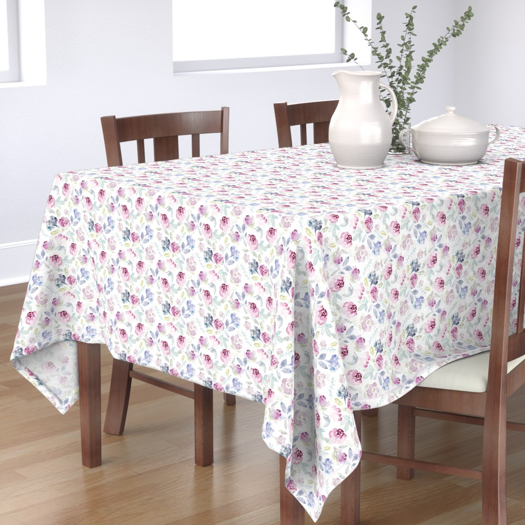 Bantam Rectangular Tablecloth featuring Watercolour Florals Vintage Faded Style on White MEDIUM by sylviaoh