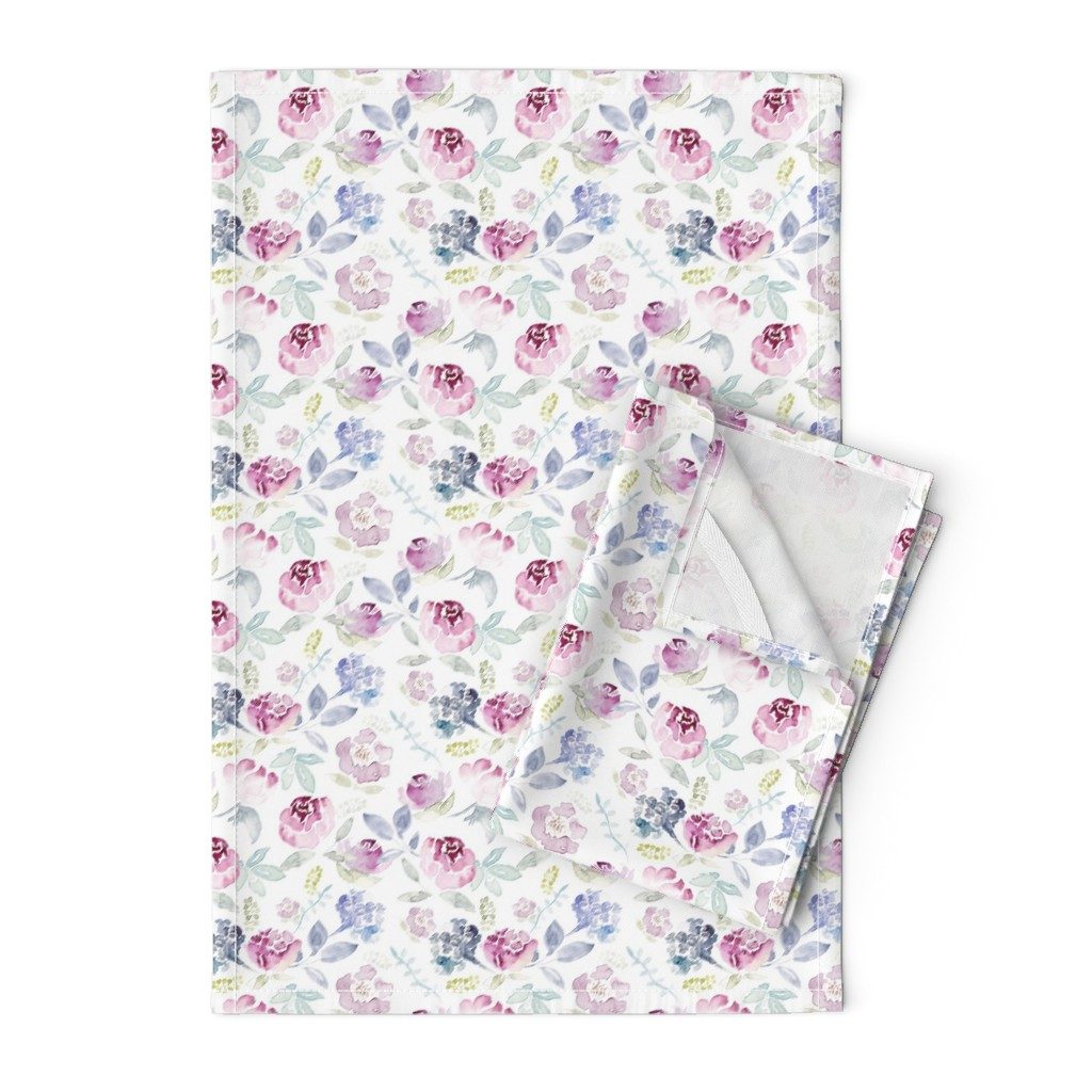 Orpington Tea Towels featuring Watercolour Florals Vintage Faded Style on White MEDIUM by sylviaoh