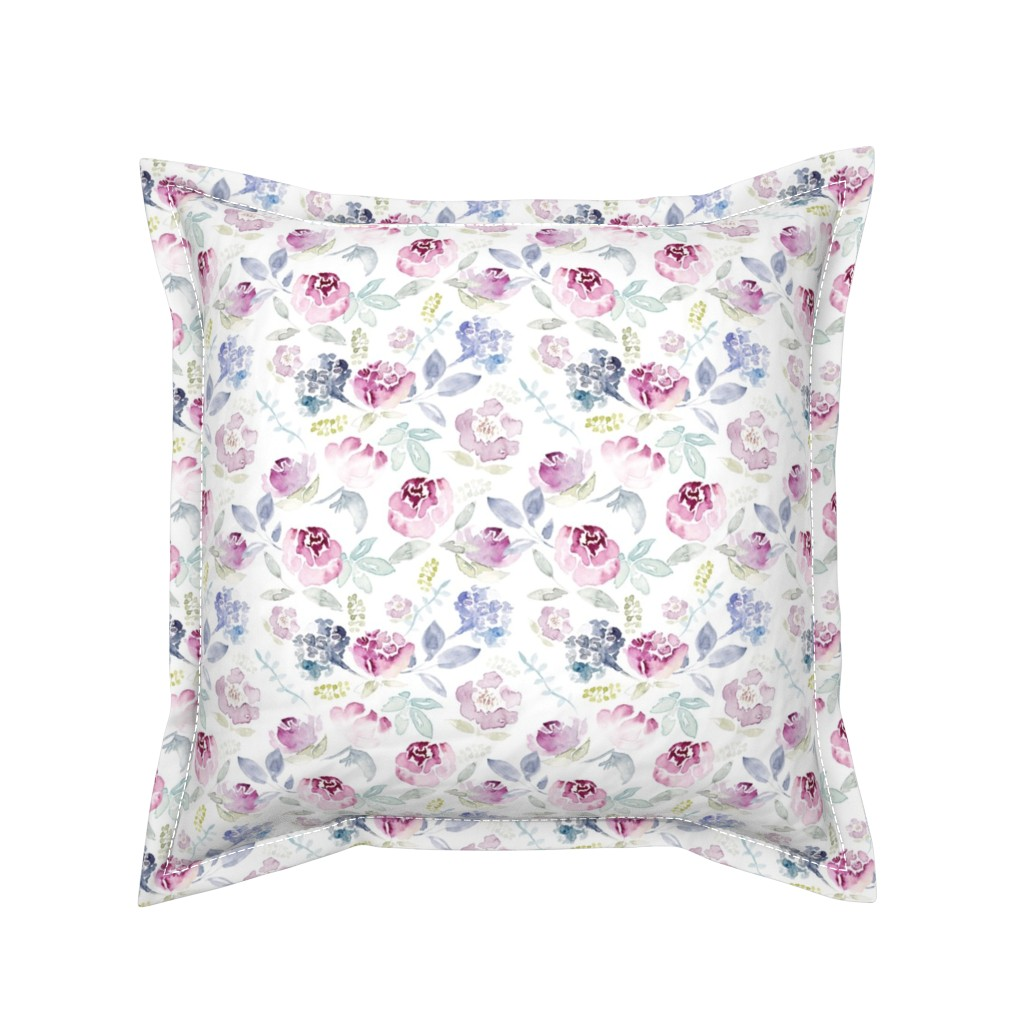 Serama Throw Pillow featuring Watercolour Florals Vintage Faded Style on White MEDIUM by sylviaoh