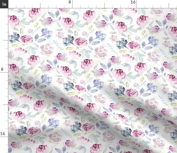 Fabric by the Yard Watercolour Florals Vintage Faded Style on White MEDIUM