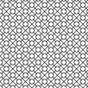 black + white lattice quatrefoil