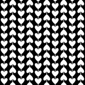 black + white vine hearts reversed
