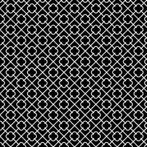 black + white fancy quatrefoil reversed