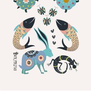 rabbit, turtle, fish, lizard, butterflies towel