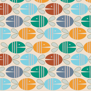 pastel geometric fat  fish