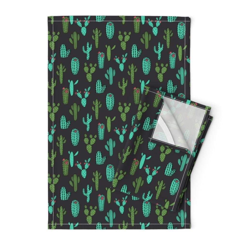 Orpington Tea Towels featuring cactus // cacti plants cactus desert cactus fabric andrea lauren fabric andrea lauren design fabrics andrea lauren fabric by andrea_lauren