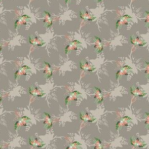 15-07Q Rustic Floral Bouquet Deer Antlers Fall Leaf Leaves Taupe Peach_Miss Chiff Designs