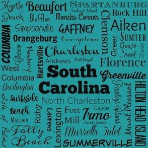 Cities of South Carolina cities, teal