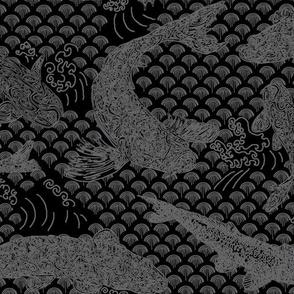 Koi Wave Gray on Black