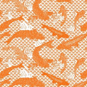 Koi Wave Orange on White