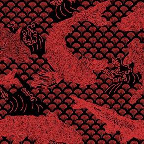 Koi Wave Red on Black