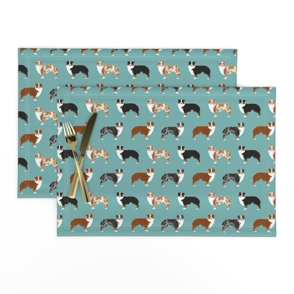 Lamona Cloth Placemats featuring australian shepherds dogs cute blue merle dog red merle aussie dog fabrics cute fabric design by petfriendly