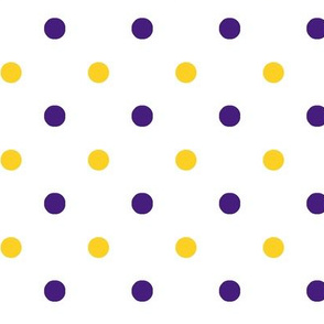 Purple and yellow team color polka dot white