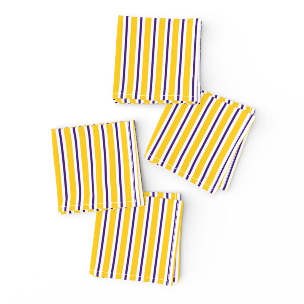 Frizzle Cocktail Napkins featuring Purple and yellow team color stripe by rickrackscissorsstudio