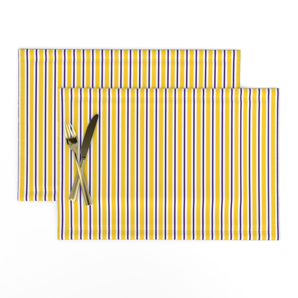 Lamona Cloth Placemats featuring Purple and yellow team color stripe by rickrackscissorsstudio
