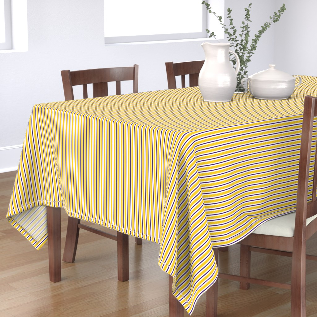 Bantam Rectangular Tablecloth featuring Purple and yellow team color stripe by rickrackscissorsstudio