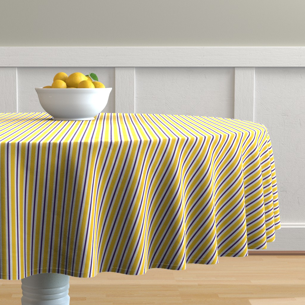 Malay Round Tablecloth featuring Purple and yellow team color stripe by rickrackscissorsstudio