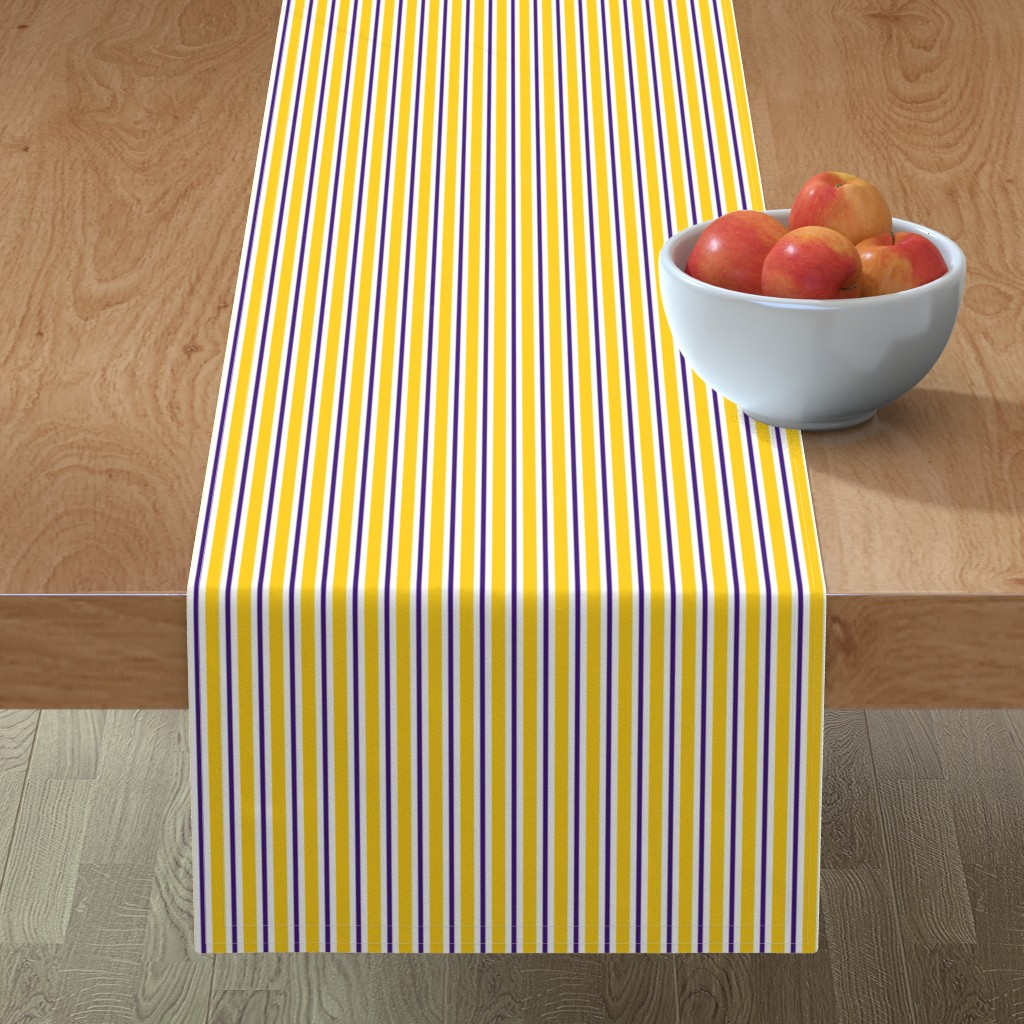 Minorca Table Runner featuring Purple and yellow team color stripe by rickrackscissorsstudio