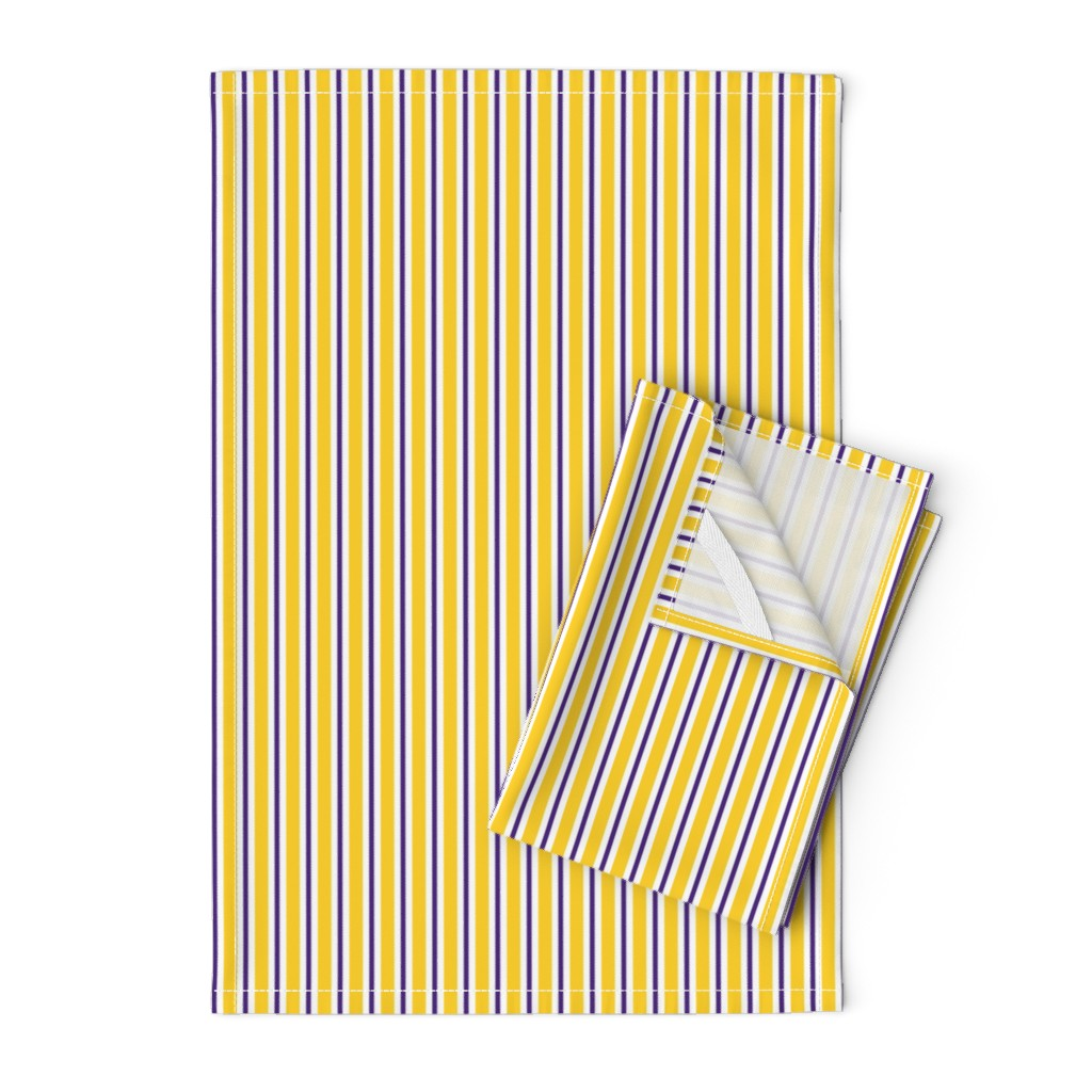 Orpington Tea Towels featuring Purple and yellow team color stripe by rickrackscissorsstudio