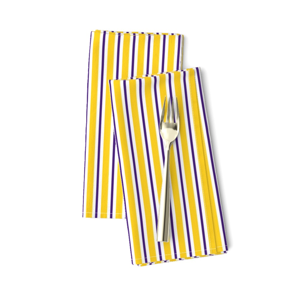 Amarela Dinner Napkins featuring Purple and yellow team color stripe by rickrackscissorsstudio