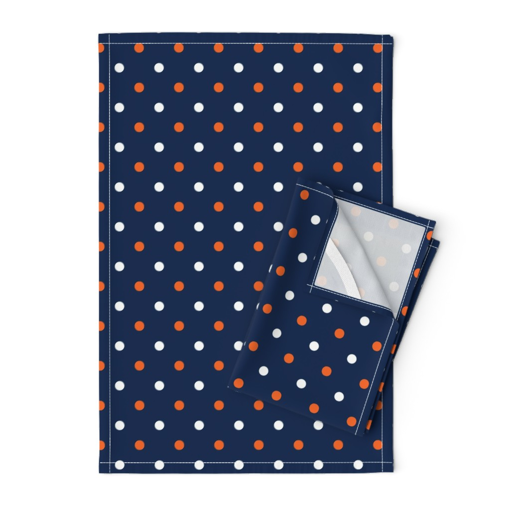 Orpington Tea Towels featuring Navy and orange team color _Navy_Dot by rickrackscissorsstudio