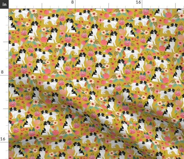 Fabric by the Yard japanese chin dog florals cute floral design best  japanese spaniel dog gifts cute dog design sweet dogs best dog fabrics