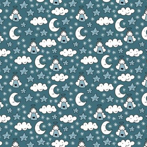 Romantic dreams and sleepy night moon clouds starts and angels for christmas blue XS