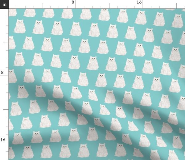 Fabric By The Yard White Cat Fabric With Blue Mint Background Cute White Cat Fabric Cat Lady Design Cat Lady Fabric Sweet Cats Cute Cat Design
