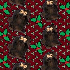 "Shih tzu Christmas Holly abt 2"" tall"