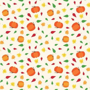Pumpkins & Leaves - Cream