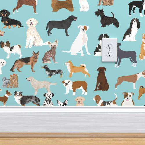 Wallpaper Dogs Light Blue Lots Of Breeds Dog Breed Fabric Cute Dogs Best Dog Fabric Dog Quilts Dog Gifts Cute Dog Lover Fabric
