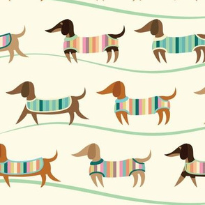 Wiener Dogs on Parade in Cream