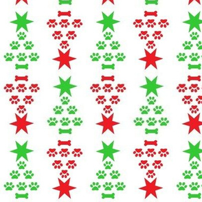 Paw print Christmas trees in red and green