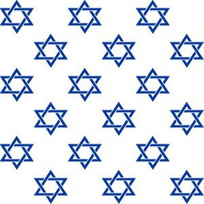 One Inch Blue Star of David on White