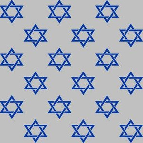 One Inch Blue Star of David on Matte Silver