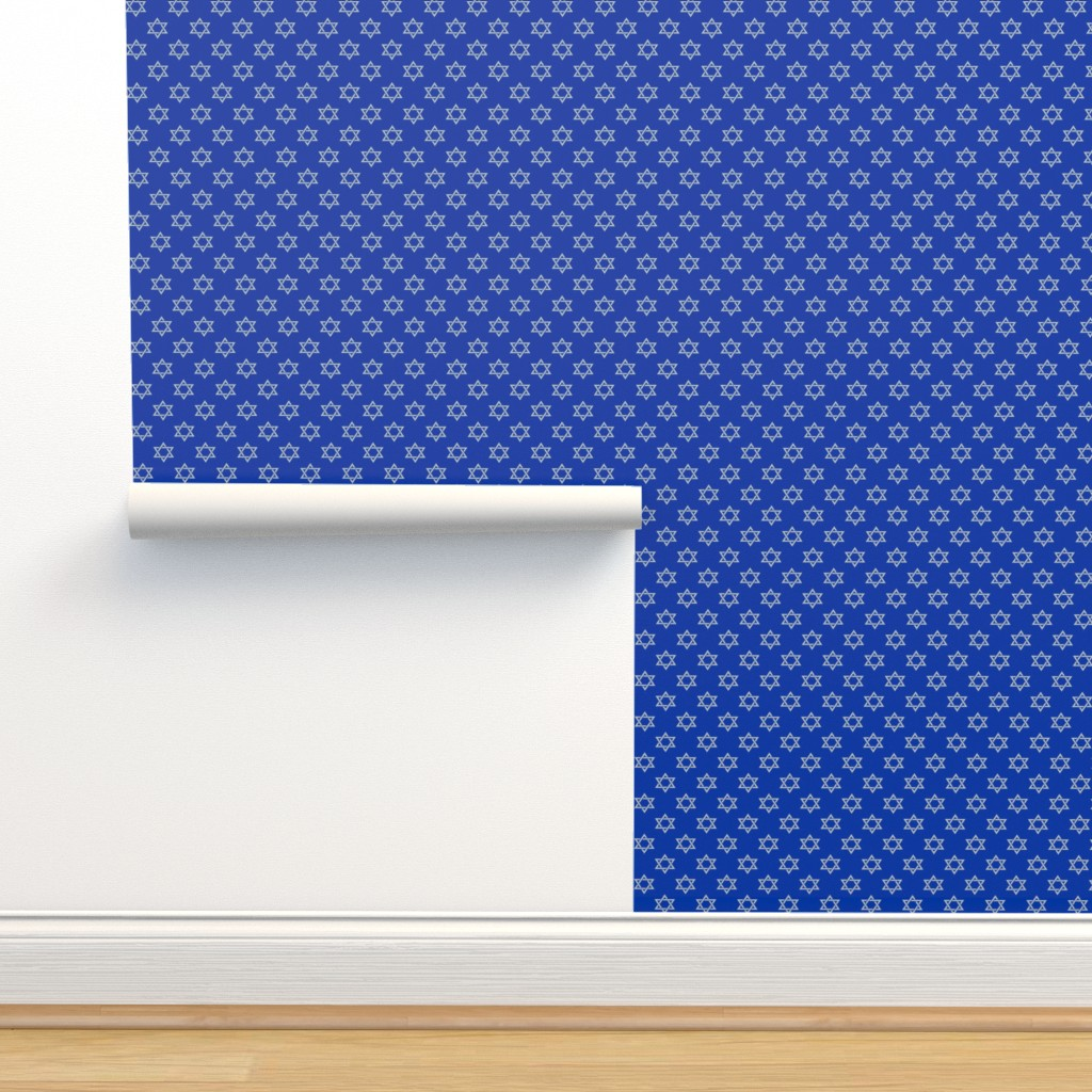 Isobar Durable Wallpaper featuring One Inch Matte Silver Star of David on Blue by mtothefifthpower