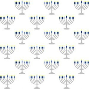 One Inch Matte Silver and Blue Menorahs on White