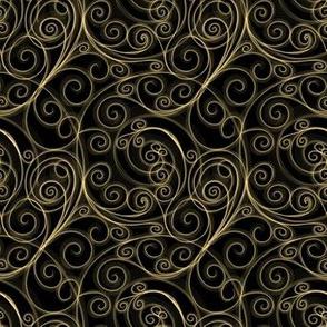 Gold Filigree Swirls on Black