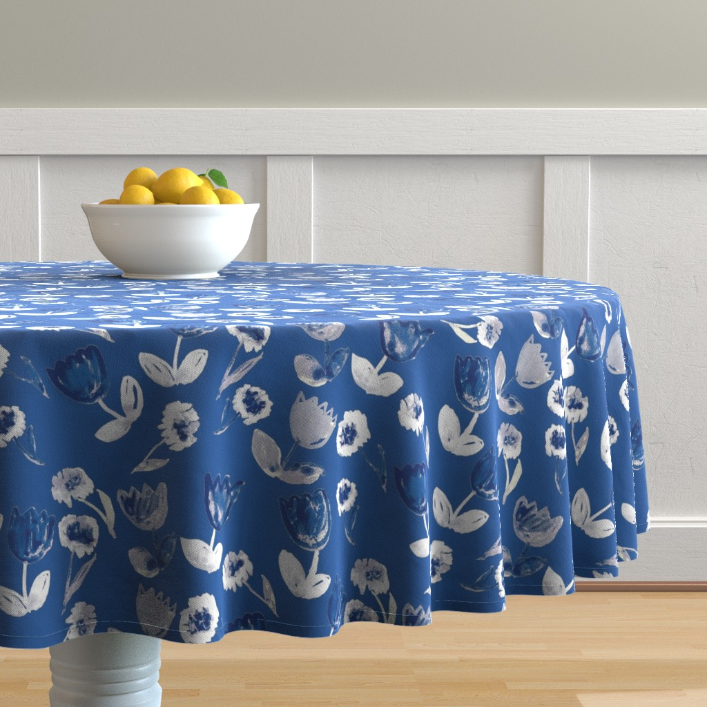 Malay Round Tablecloth featuring Painted flowers by susanna_nousiainen