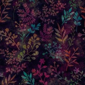 Dark Floral Watercolor Motif