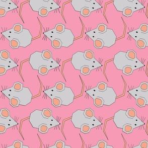 Walking Mice on Pink