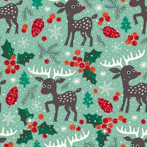 Christmas reindeer in snow